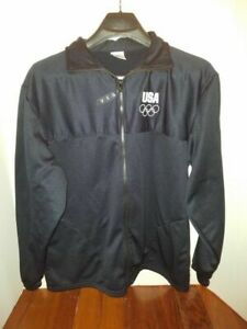 Mens Womens Warm Up Jacket Size Large USA Olympic Full Zip Black