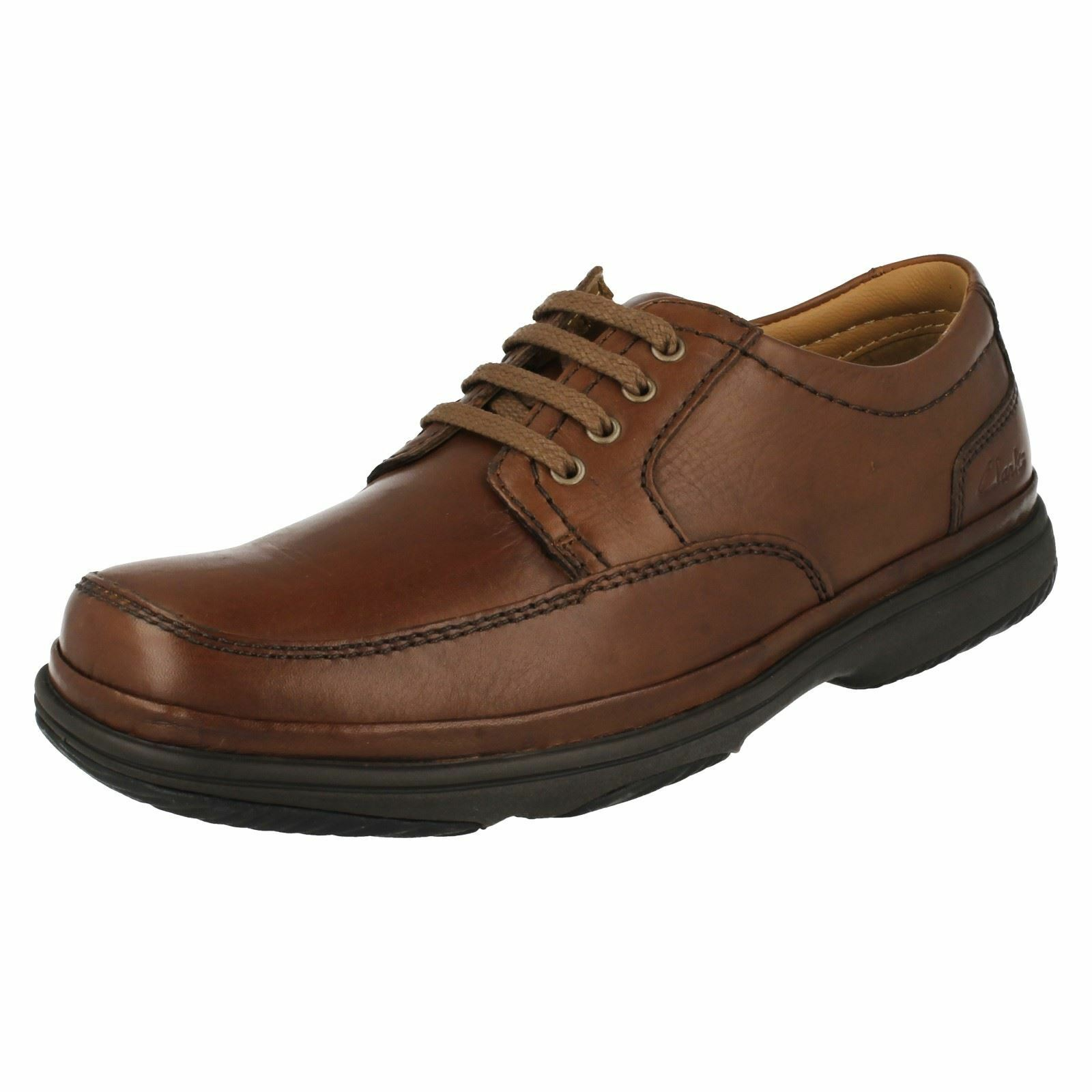 MENS CLARKS  SWIFT MILE MAHOGANY LEATHER LACE UP FIT H