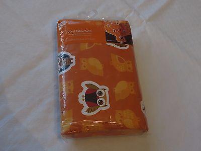 Owl orange tablecloth vinyl 60 x 84 rectangle fall Thanksgiving owls harvest