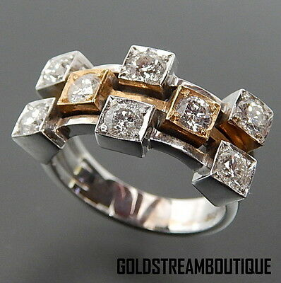 CLASSY 14K TWO TONE GOLD ROUND CUT 1.50 CTTW DIAMONDS CLUSTER RING SIZE 7.25