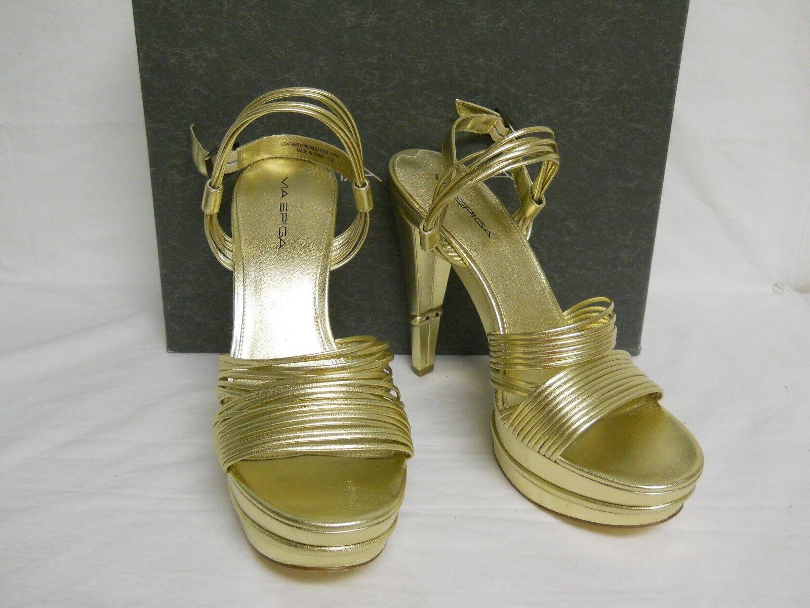 Via Spiga New Womens Aida gold Leather Platform Heels 10 M shoes