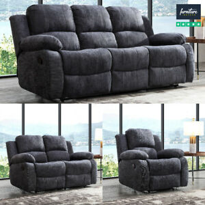 Recliner 3 Piece Sofa Set In Premium, Fabric Living Room Sets With Recliner