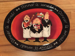 "Certified International ""Dinner is Served!"" Tracy Flickinger 18 Oval Platter EUC"