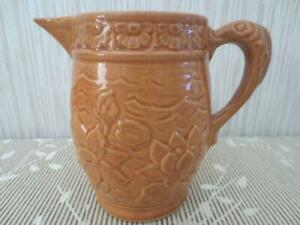 Antique-Golden-Brown-Lily-Pattern-McCoy-Pitcher-Yelloware-Fish-Handle