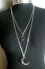 """Large Moon, Cat Charm Double Layered Necklace Minimalist Silver Tone 30"""" Chain"""