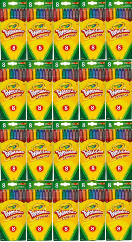LOT OF 20 PACKS CRAYOLA TWISTABLE CRAYONS 8 COUNT EACH PACK TOTAL 160 CRAYONS