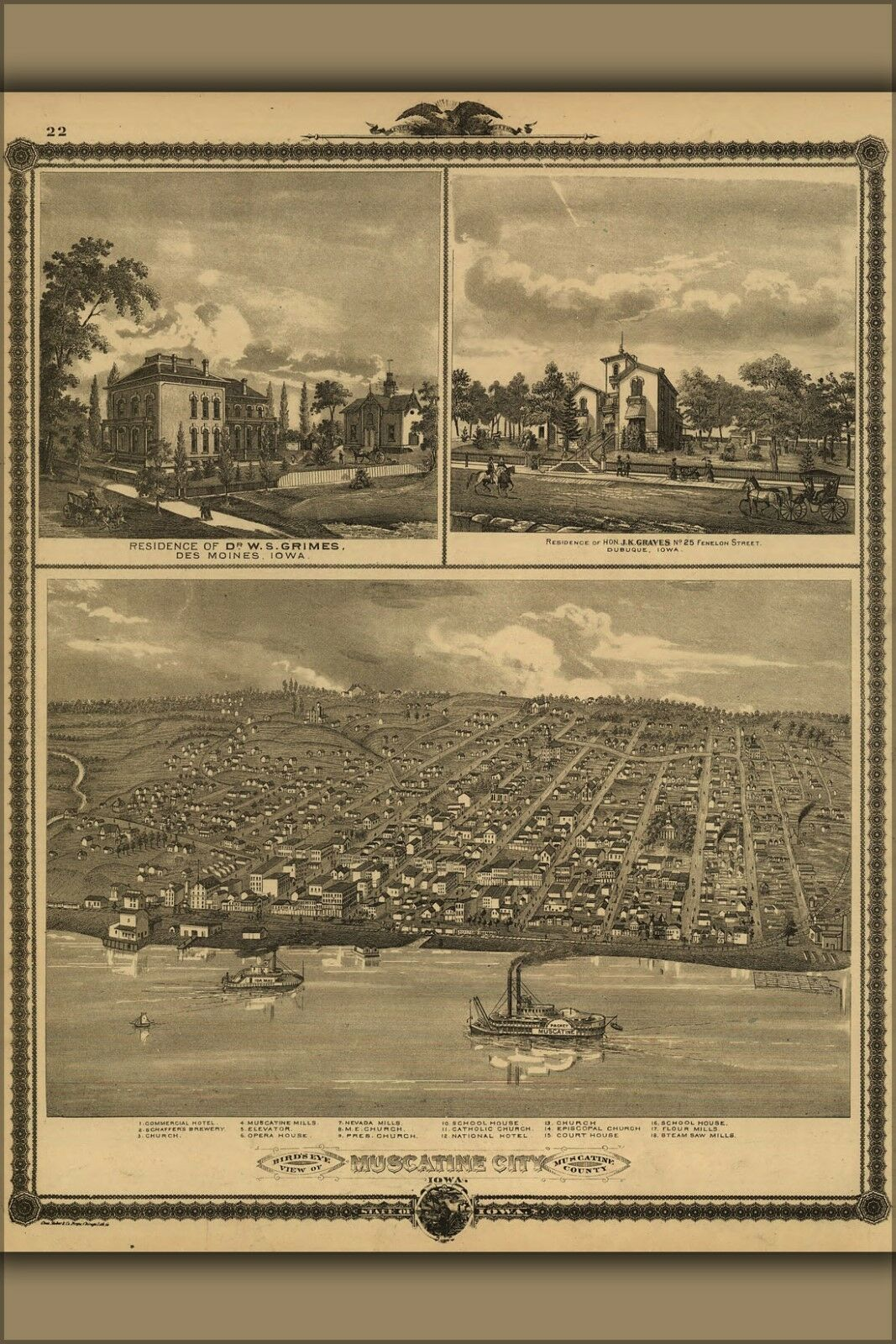 Poster, Many Dimensiones; Birdseye View Map Of Muscatine City Iowa 1875