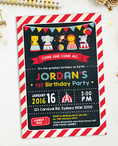 Image Is Loading CIRCUS INVITATION Carnival Birthday Party Supplies Invite Chalkboard