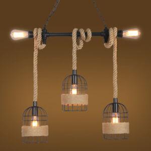 Vintage-3-Mini-Bird-Cages-Hemp-Rope-Hanging-Black-Metal-Kitchen-Pendant-Lights