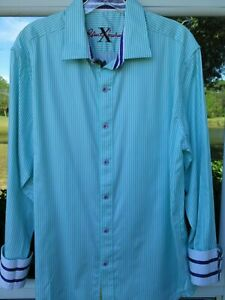 Robert-Graham-X-Cotton-Tailored-Fit-Green-White-Striped-Casual-Shirt-Large-EUC