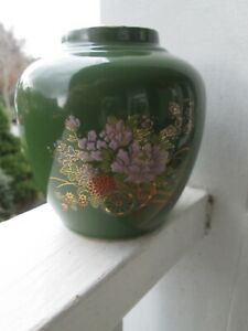Oriental-Vase-Porcelain-Urn-Ginger-Jar-Olive-Green-Lavender-Flowers-Gold-Trim-A