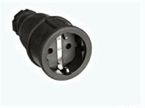 PCE 2520-s Schutzkontaktkupplung Kupplung Vollgummi schwarz 1 Stück IP20