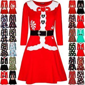 Kids Girls Xmas Reindeer Floral Heart Snowman Broom Stick Christmas Swing Dress