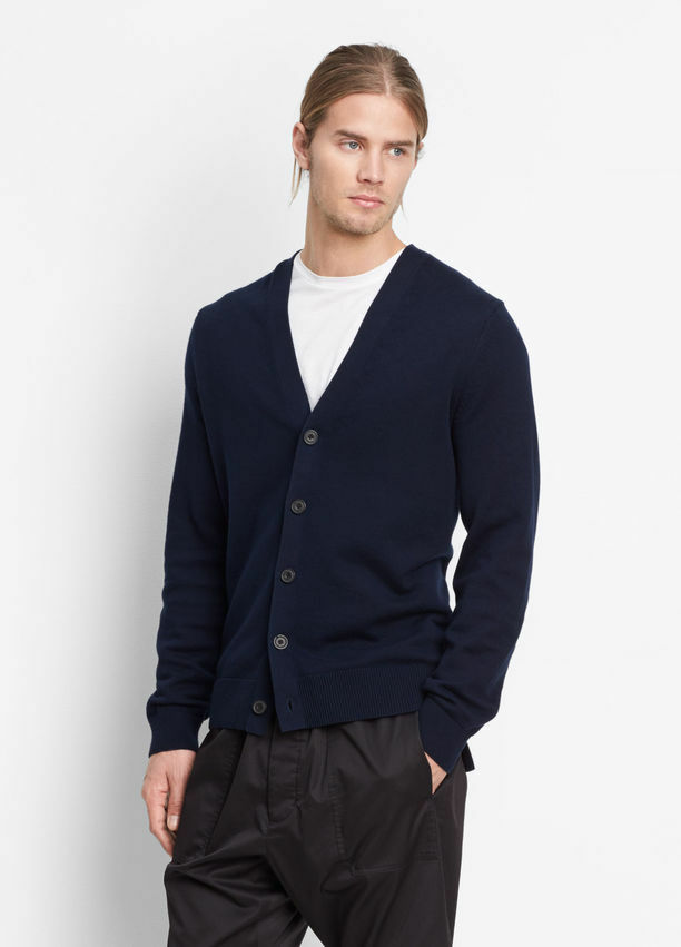 VME121 NWT VINCE HIGH LOW MIXED RIB MEN CARDIGAN SWEATER SIZE M 295