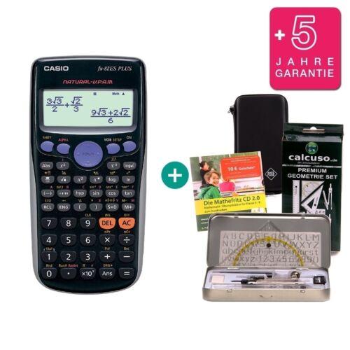 Casio FX 82 ES Plus Taschenrechner Schutztasche GeoSet Lern-CD Garantie