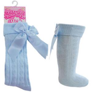 Baby Girl Knee High Length Heart Blue Socks Ribbon Bow Traditional Spanish Style