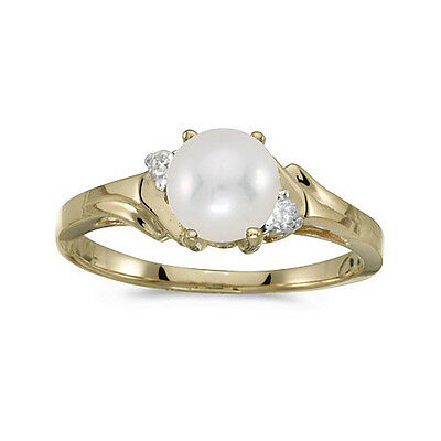 cm-rm1248x-06 Delaying Senility 14k Yellow Gold Cultured Freshwater Pearl & Diamond Ring