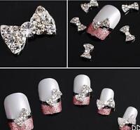 DIUS Lot 10Pcs 3D Clear Alloy Rhinestone Bow Tie Nail Art Slices Diy Decorations