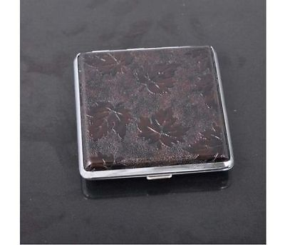 Leaves Design Faux Leather CIGARETTE CASE.......... Smoker Smoking dark brown