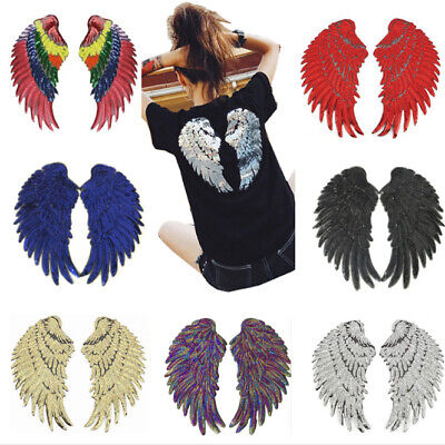 Sequin Silver Pair of Wings Big Large Jacket Applique Iron-On//Sew-On Patch