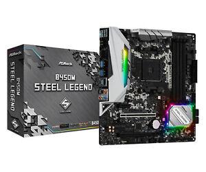 ASRock AMD B450M Steel Legend mATX Gaming AMD AM4 Motherboard CrossfireX DDR4