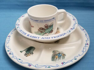Children-039-s-Plate-Bowl-amp-Cup-Set-Peter-Rabbit-amp-Friends-Design-EDEN-Blue-White