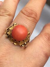 Tested 14k Gold Red Coral Solitaire Gold Ring -uk Size O ,4.4g