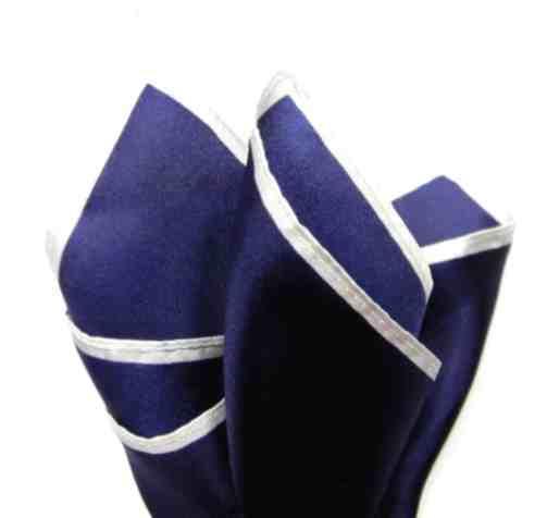 FAZZOLETTO DA TASCHINO blu bianca POCHETTE SETA UOMO bordo in contrasto BIANCO