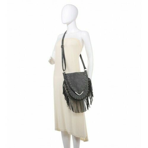 Ladies Tassel Shoulder Bag Girls Stud Fringe Messenger Bag Chic Handbag MZ9885
