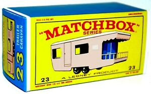 Matchbox-Lesney-No-23-CARAVAN-TRAILER-PINK-Empty-Repro-Box-style-E
