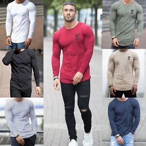 Mens Gym T shirt Longline Slim Muscle Fit Long Sleeve Plain Top ... 80605632604