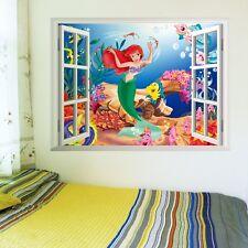 Little Mermaid 3D Window Scenery Mural Wall Decal Sticker Kids Girls Room  Decor Part 44