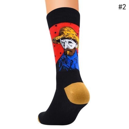 Retro Women Art Mural Painting Series Casual Male Socks Oil Funny Socks Vintage