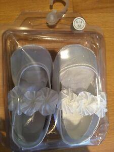 Bébé Fille 6-12 Mois Baptême Baptême Blanc Fleur Soft Pram Chaussures Blanc-afficher Le Titre D'origine