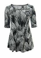 Ladies Bnwt Size 16 18 20 22 Gorgeous Print Stretchy Top 3/4 Sleeve New