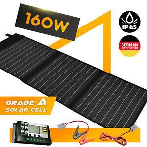 160W-12V-Solar-Mat-Flexible-Folding-Solar-Panel-Blanket-Generator-Camping-Power