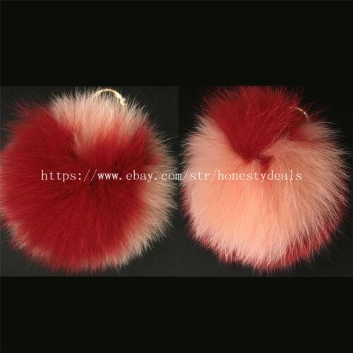 "13cm// 5/"" Peach Red Real Fox Fur Pom Pom Ball Heart Shaped bag charm keychain"