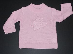Childrens Place Infant Girls 12M Pink Sweater Top Embroidered Rose Design New