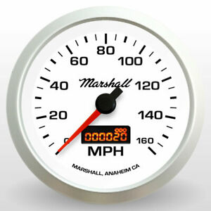 Marshall-3-3-8-034-Electronic-Speedometer-White-Dial-Silver-Bezel-2252
