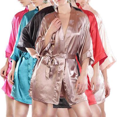 Kimono Hausmantel, Nachtwäsche Negligee Bademantel Morgenmantel in vielen Farben