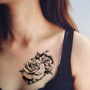 1pcs Men Women Fake Old Clock Rose Tattoo Body Arm Adhesive Death Skull Temporary Sleeve Punk Tattoo Stickers Tattoo & Body Art