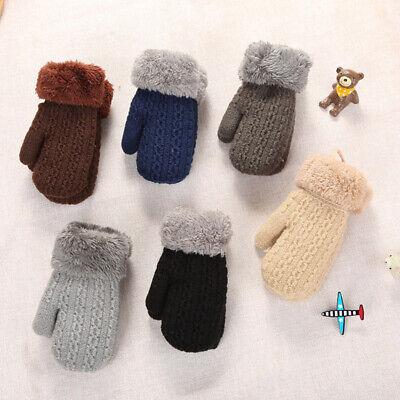 Finger Warm Baby Kids Boys Girls Kids Gloves Plus Velvet Knitting Mittens Thick