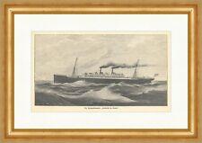 Der Reichspostdampfer Friedrich der Große Schiff Meer Wellen Holzstich E 3091