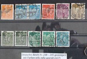 Deutsches Reich n. 238 - 245 timbrato parte inaspri esaminati (n57)