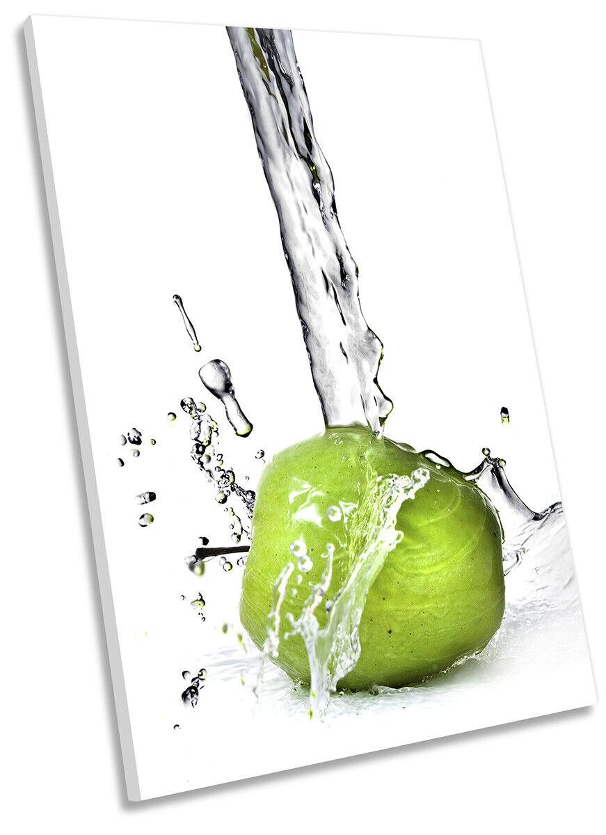 Water Splash Apple Kitchen Print CANVAS WALL ART Portrait Picture Grün