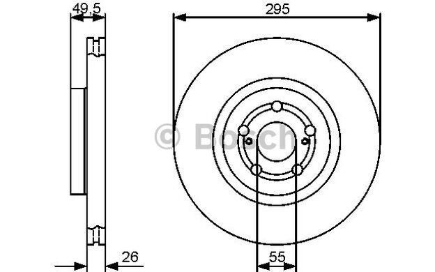 BOSCH Disco de freno (x2) Antes 295mm ventilado TOYOTA AVENSIS 0 986 479 423