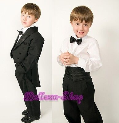5pcs Set Boys Formal Tuxedo TUX Suit Wedding Pageant Size 6m-8 ST001A