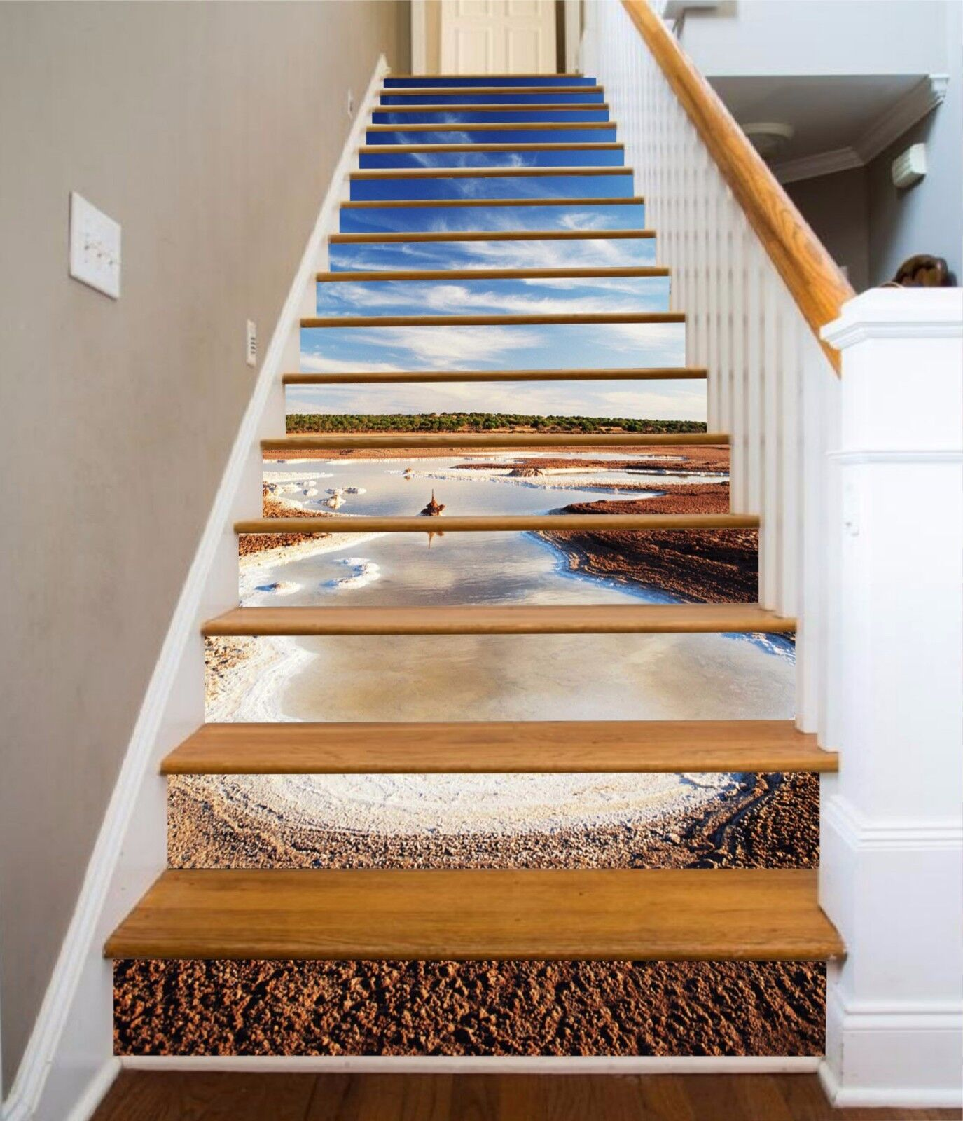 3D Sky field 7 Stair Risers Decoration Photo Mural Vinyl Decal Wallpaper UK