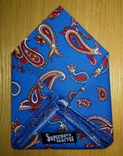 SUPERNOVA Royal Blue /& Gold Paisley Pocket Square Handkerchief Scooter Mod 60s