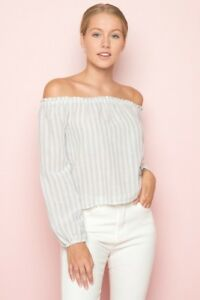 691d66458a222 NEW! brandy melville blue white striped off shoulder cotton Maura ...